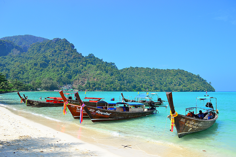 Boats on the beach of Phi Phi Don