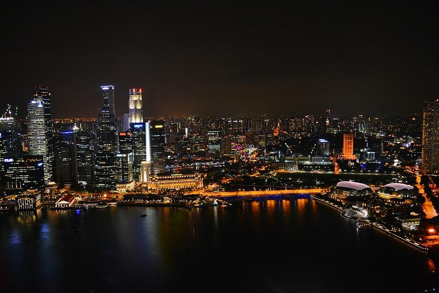 Ночной Сингапур / вид со смотровой площадки Sky Park