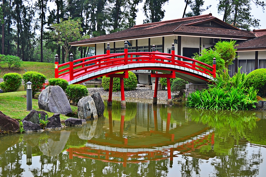 Мост через пруд в Японском саду