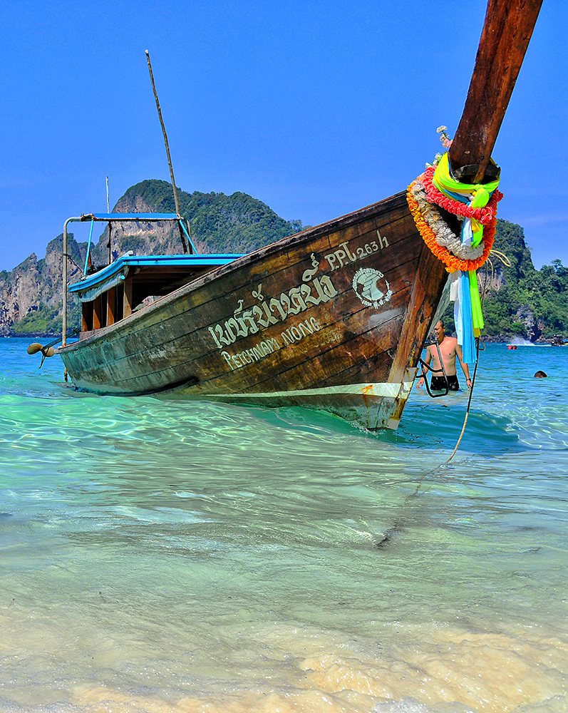 boat on the island of Phi Phi Don