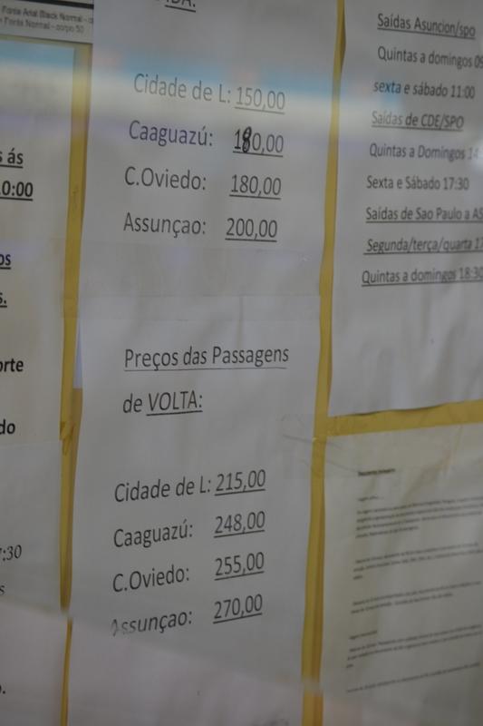цены на автобус из Сан Пауло до городов Парагвая