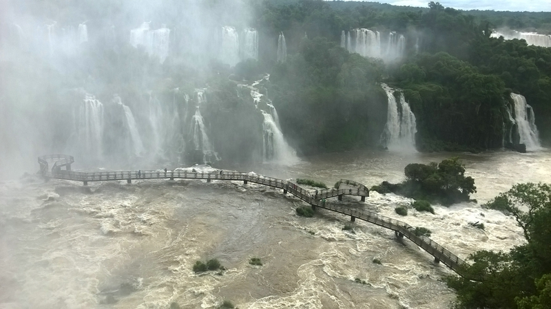 an observation deck on the Iguacu falls in Brazil