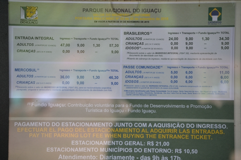 Prices for tickets to visit the Iguazu waterfalls