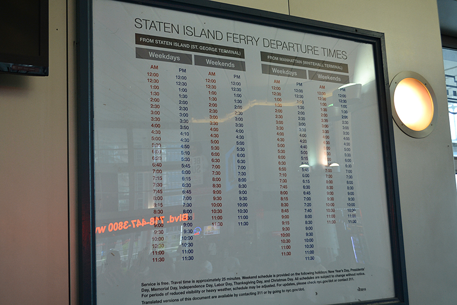 Ferry schedule to Staten island