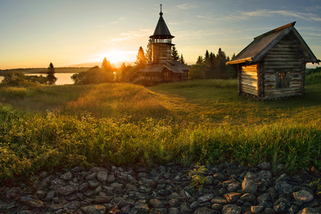 Chapel and two barn on the island of Kizhi