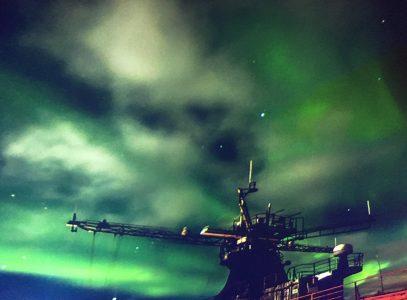 Northern lights in Murmansk. Russia.