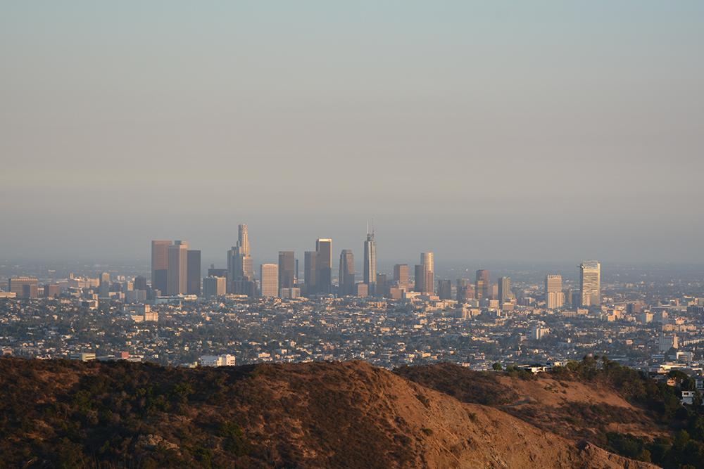 LA view from Hollywood sign viewpoint
