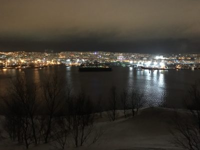 Ночной вид на Мурманск с Абрам Мыса
