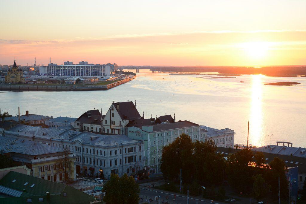 Нижний Новгород, Россия. Вид на Оку и Волгу с Кремля