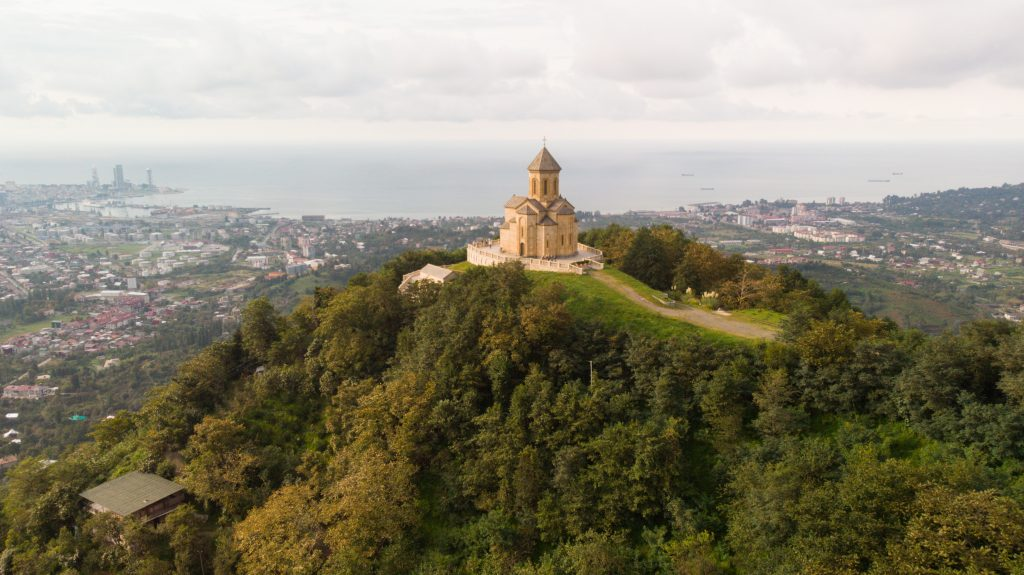 Aerial view of Sameba Church near Batumi in Georgia